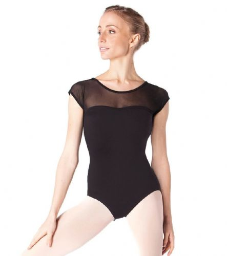 INTERMEZZO Dance Leotard Sheer Mesh Shoulders Sweetheart Neckline Meryl Black